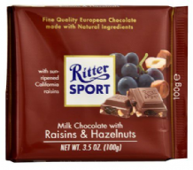 Ritter Sport Raisin & Hazelnut Milk Chocolate Bar 100g